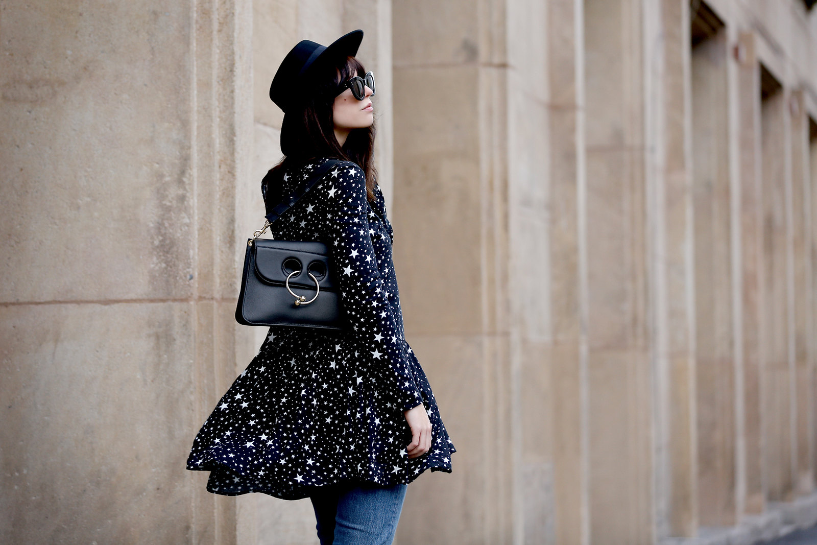 pimkie star dress zorro spanish hat hut kleidchen black allblack piercebag j.w.anderson mytheresa luxury shopping luxe céline audrey sunglasses blogger style fashionblogger germany berlin bloggers cats & dogs düsseldorf modeblog ricarda schernus fashion 3