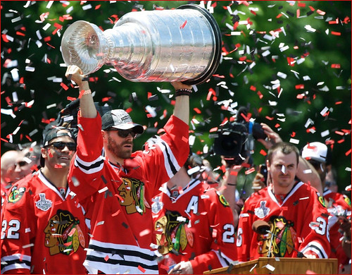 The Stanley Cup Lifted Aloft -- Grant Park Rally for the Blackhawks Chicago (IL) June 28, 2013 | by Ron Cogswell