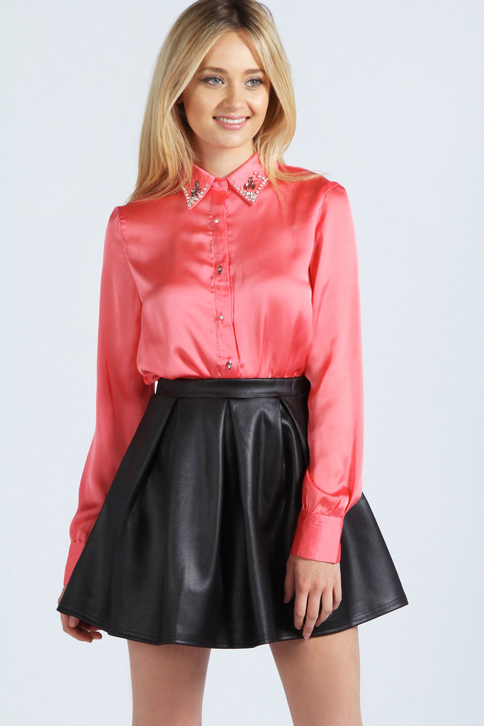 Shiny coral button up blouse & black leather skirt | Flickr