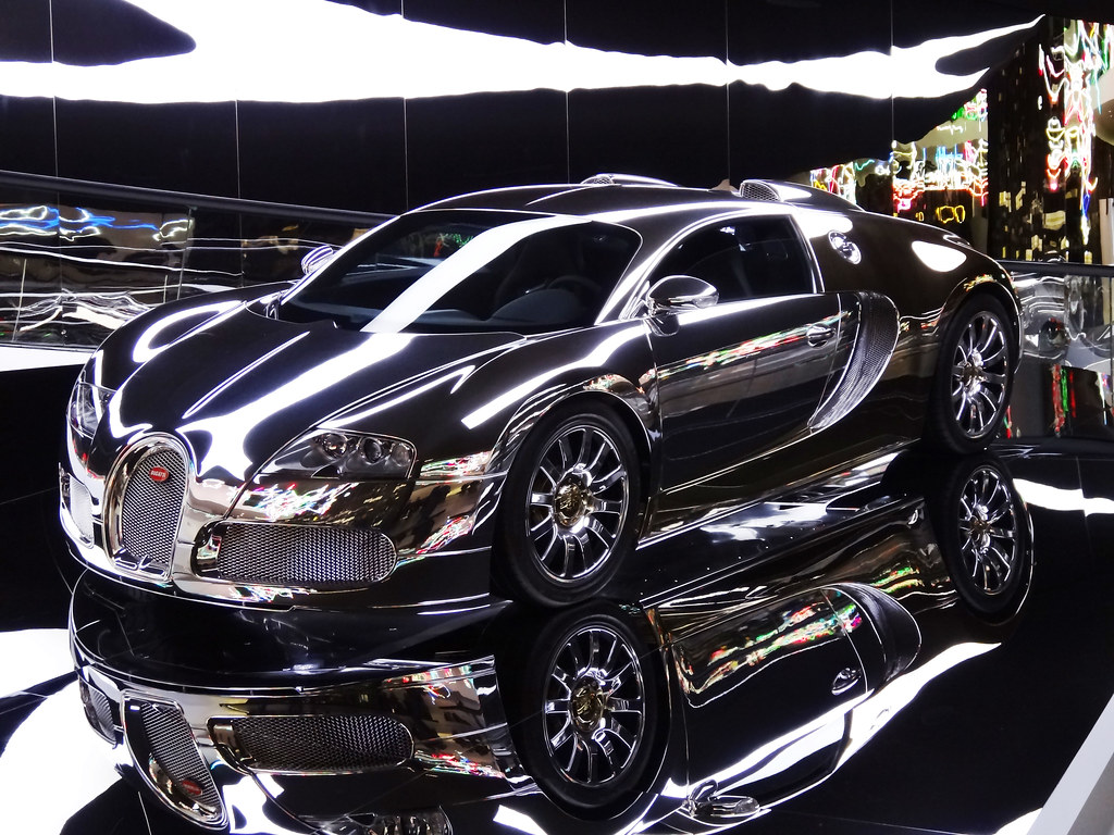 silver and chrome-plated bugatti veyron (explored) | flickr