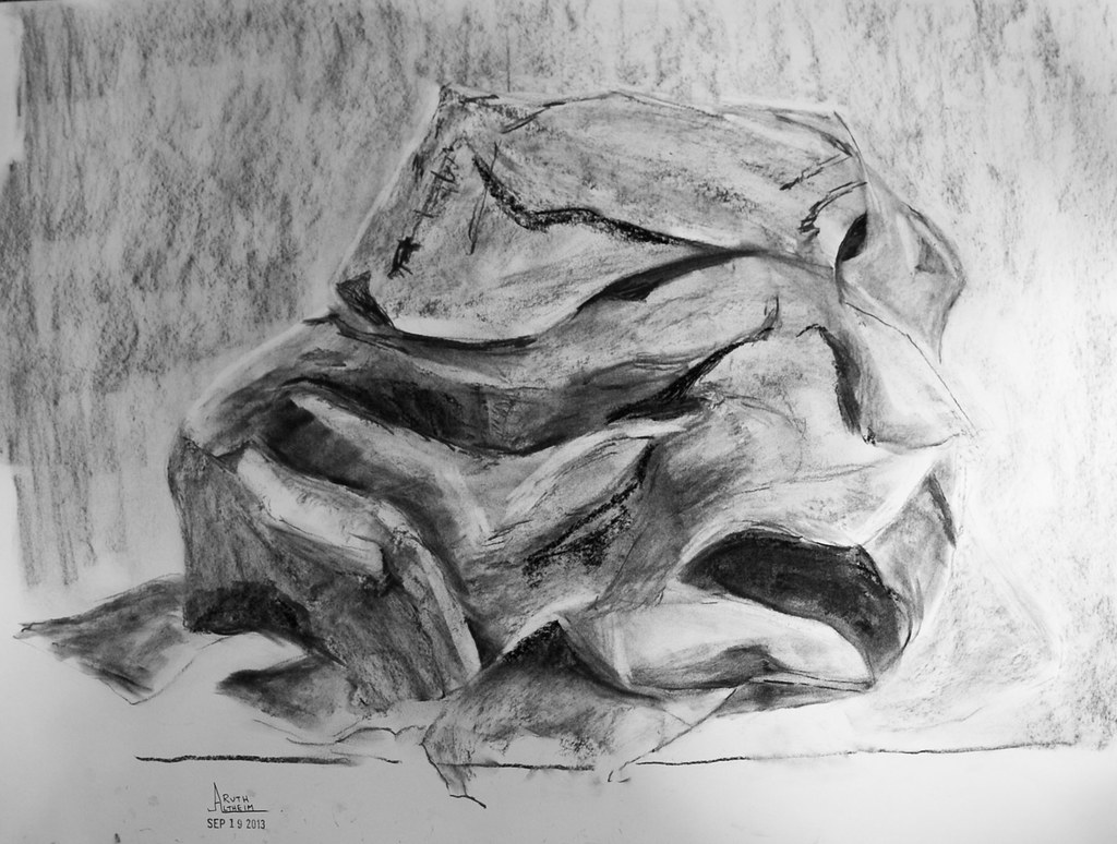 "18 x 24"" charcoal drawing of crumpled paper, see below 