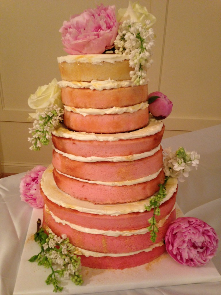 Naked pink champagne cake for a winter wedding | Fresh bloom… | Flickr