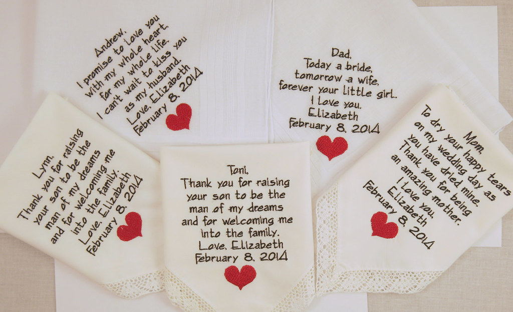 Whole Family Gifts Set Of 5 Embroidered Wedding Hankerchie Flickr