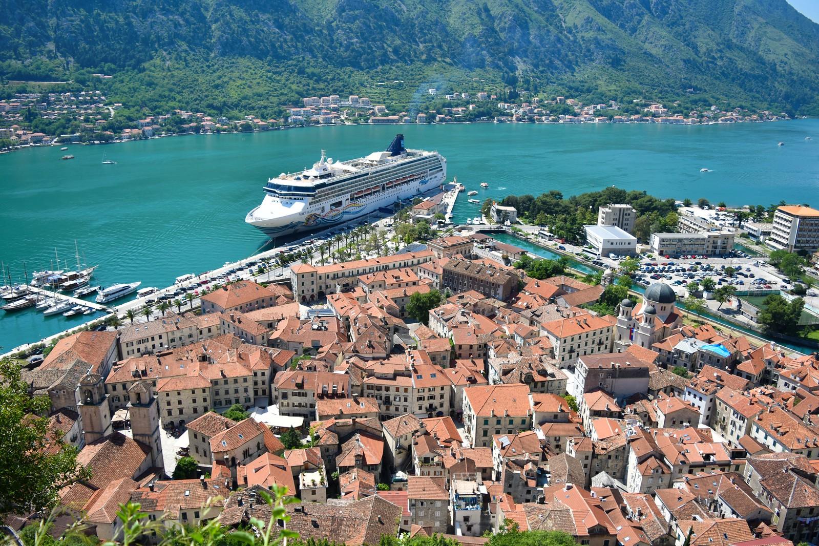 Kotor medieval town from above + Norwegian Spirit cruise