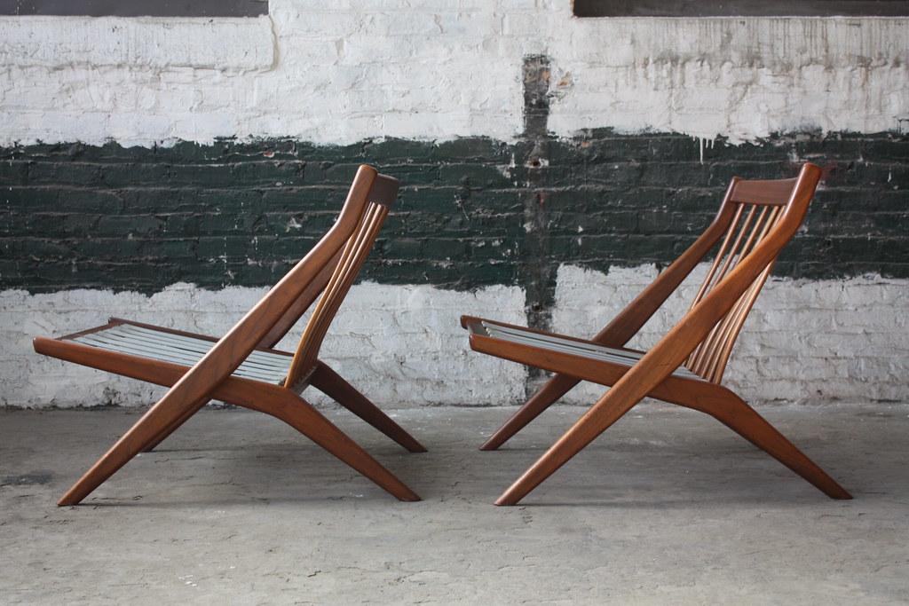 ... 1960s Hypnotic Folke Ohlsson Swedish Mid Century Modern Scissor Lounge  Chairs For Dux (Sweden, 1960s
