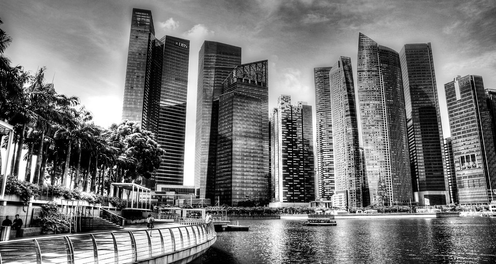 Black white urban landscape singapore by teoz photography design
