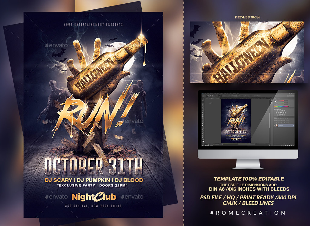 halloween zombie party gold flyer template psd flyer tem flickr