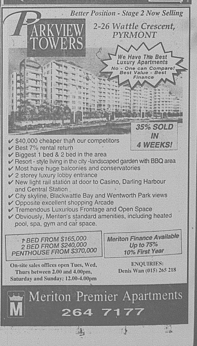 Parkview Towers Pyrmont June 24 1995 SMH 85