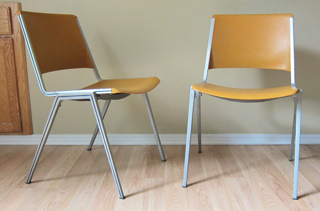 ... Orange Steelcase Stacking Chairs | By Sheep Chase Vintage