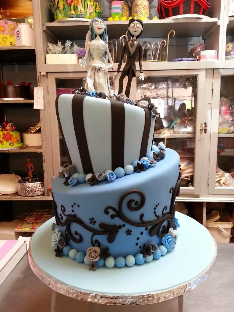 2-tier Tim Burton themed Mad Hatter wedding cake in shades… | Flickr