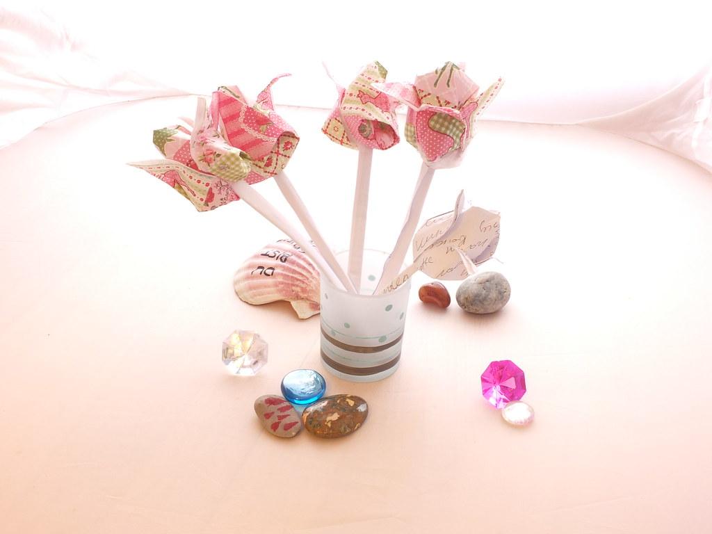 Tulip Flower Origami Napkins Stones Shells Handmade Tulips Flickr