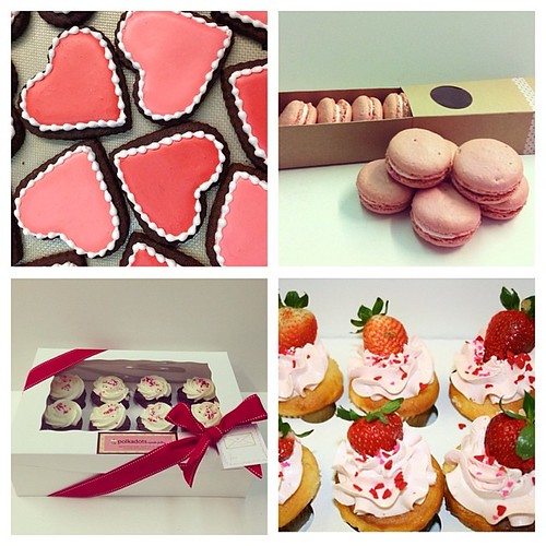 Our valentines menu: assorted sugar cookies, strawberry macaron gift box, and valentines cupcakes (strawberry shortcake, strawberry and cream, triple chocolate, red velvet, vanilla, and blackbottom) available for pick up/ scheduled delivery 02.12 - 02.14 | by Polkadots (Olga)