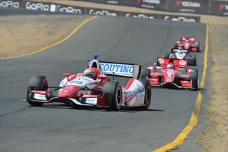 Justin Wilson leads the front runners into Turn 9 at Sonoma Raceway | by IndyCar Series
