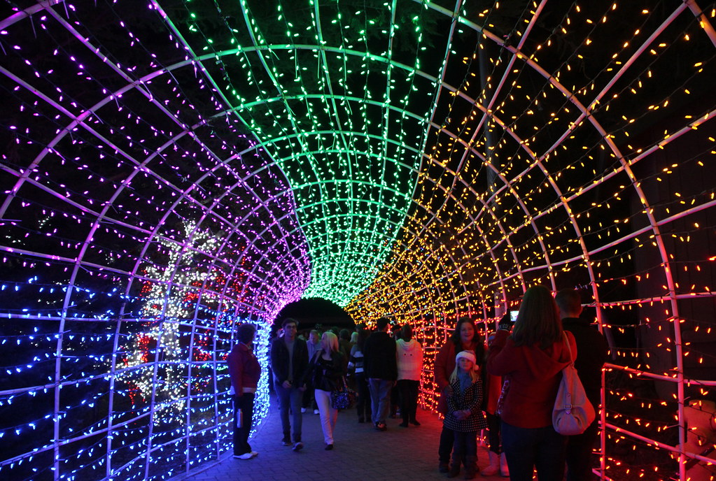 tunnel of christmas lights shine at the christmas market cambria pines lodge by trail