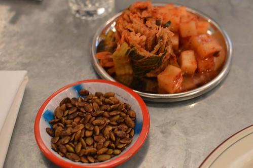 Sunflower seeds, kimchi