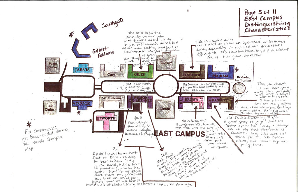"East Campus Map ""A Color Coded Guide to Duke Living Group…"