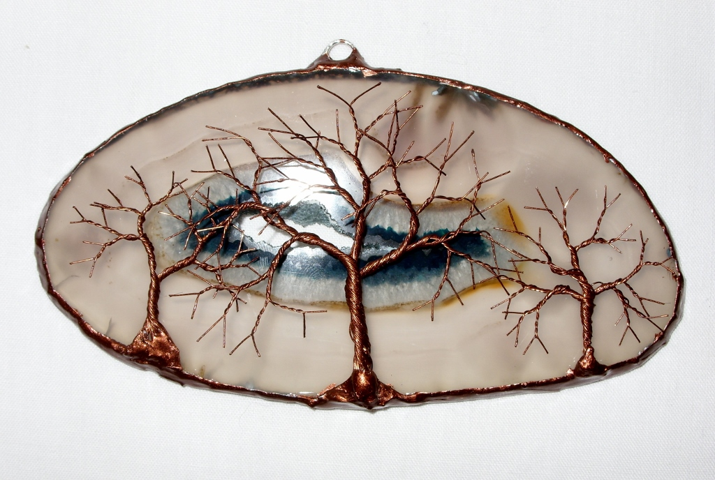 ... Copper Wire Tree Of Life Metal Wall Art Sculpture On A White Agate Stone Crystal Suncatcher & Copper Wire Tree Of Life Metal Wall Art Sculpture On A Whiu2026 | Flickr