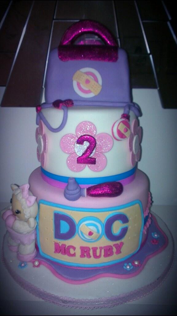 Doc Mcstuffins Tiered Glittery Girls Birthday Cake Flickr