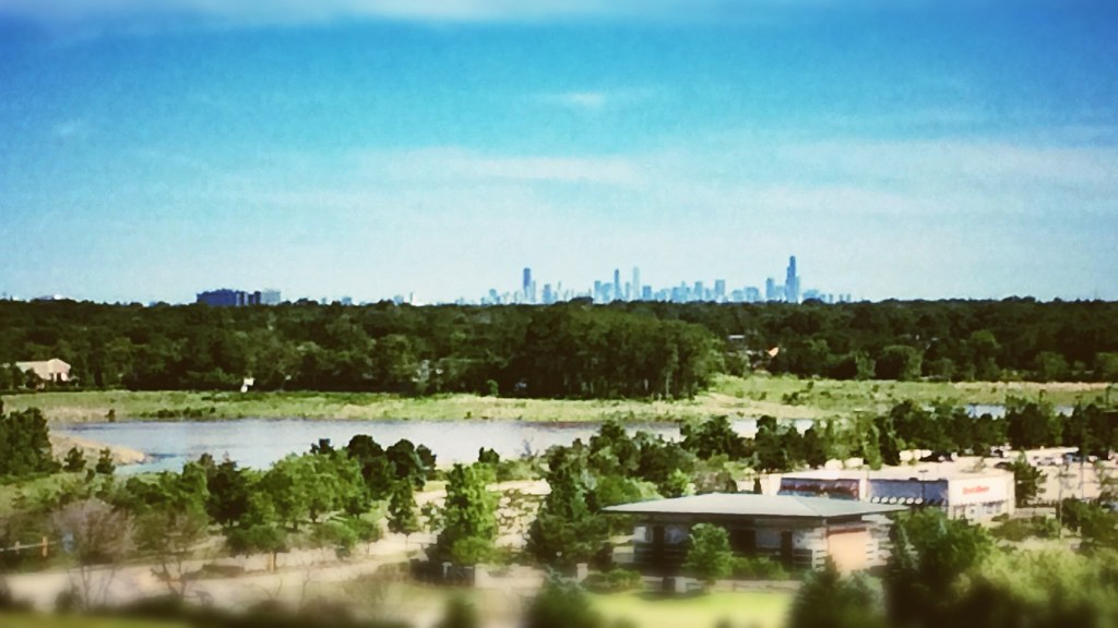 Chicago Skyline Northbrook IL Willow Hill Golf Course Vintage Style