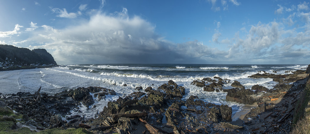 12-photo photomerge of beach from Yachats, Oregon