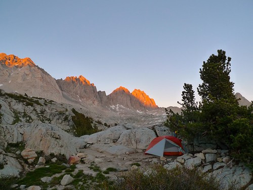Sunset alpenglow above my camp in upper Dusy Basin | by snackronym