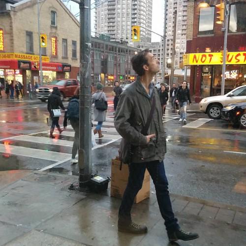 Staring up, Yonge and Wellesley #toronto #yongeandwellesley #yongestreet #rain