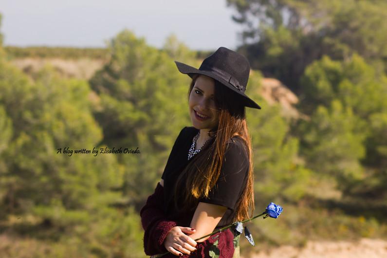 ... cardigan burgundy sombrero negro HEELSANDROSES look lady viñedos cata  Mango Inditex (4)  a482cdd9c9c