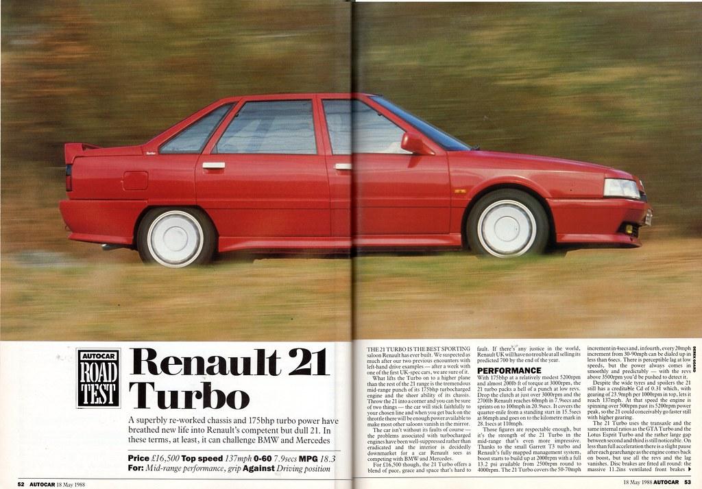 renault 21 turbo road test 1988 flickr. Black Bedroom Furniture Sets. Home Design Ideas