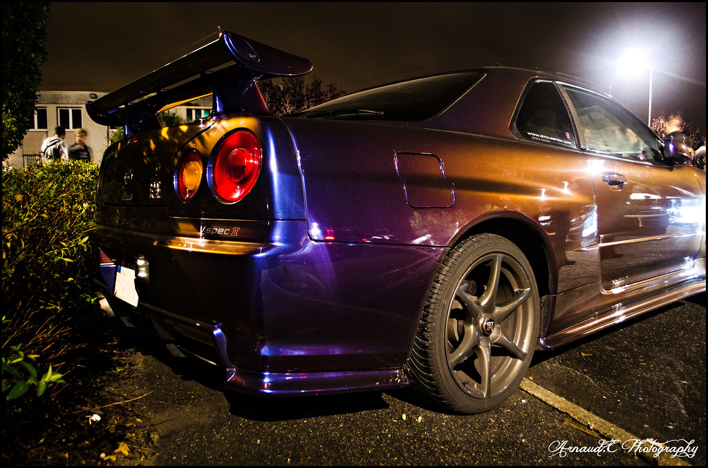 Nissan Skyline R34 Gtr V Spec Midnight Purple Gtr Night 2 Flickr