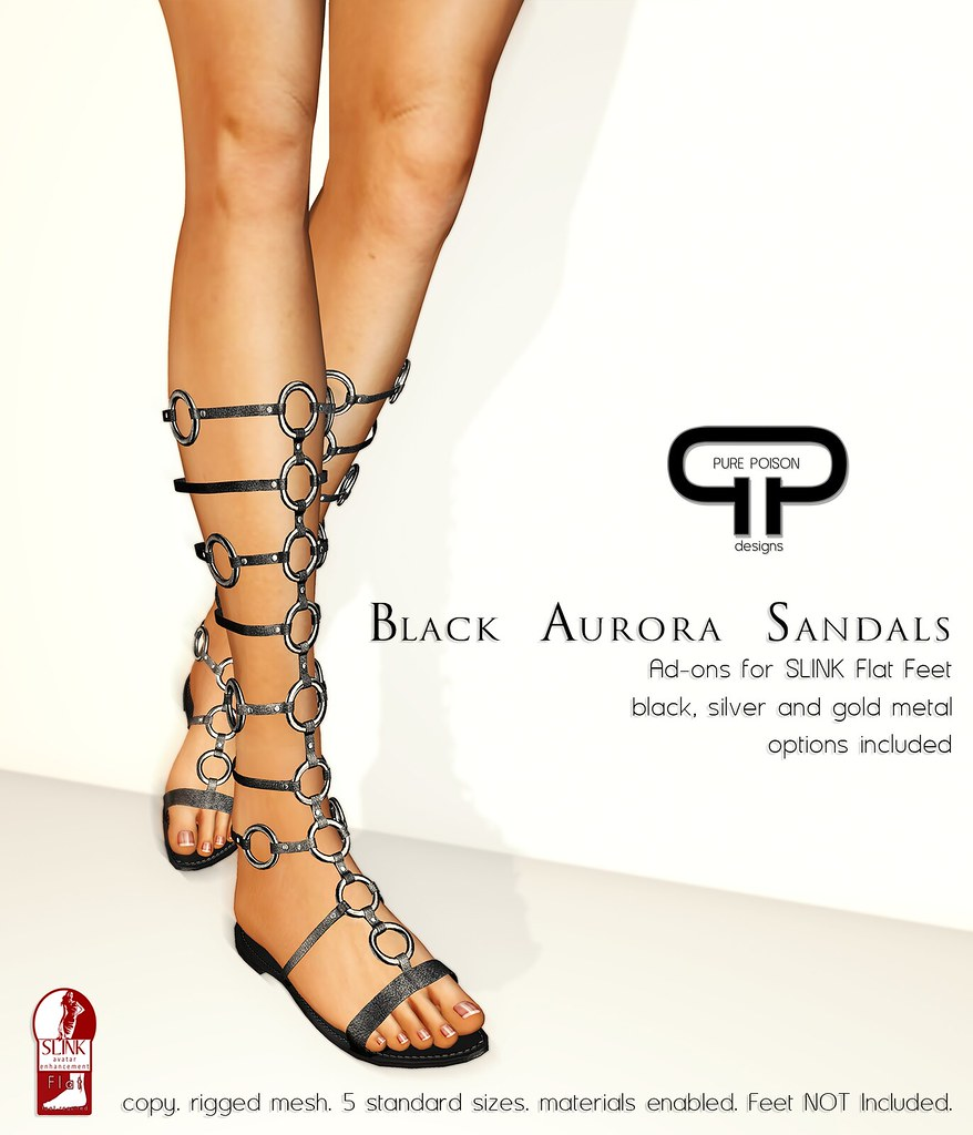 Pure Poison - Black Aurora Sandals - Ad-ons for SLINK Flat