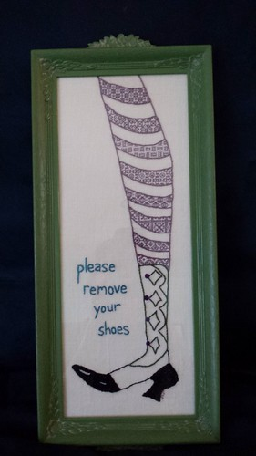 "blackwork ""remove your shoes"" sign 