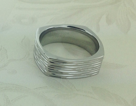 Square Cobalt Chrome Wedding Ring Tree Bark Finish Square Flickr