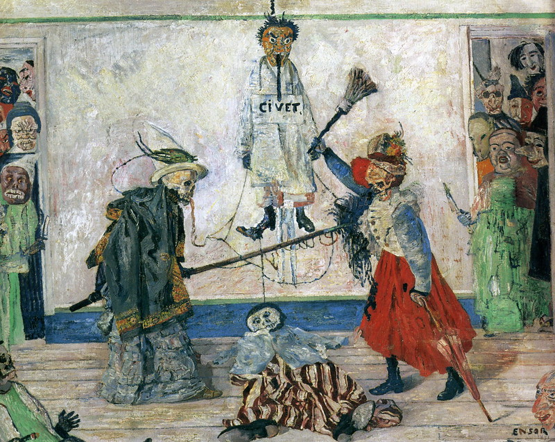 James Ensor - Skeletons Fighting For The Body Of A Hanged Man, 1891