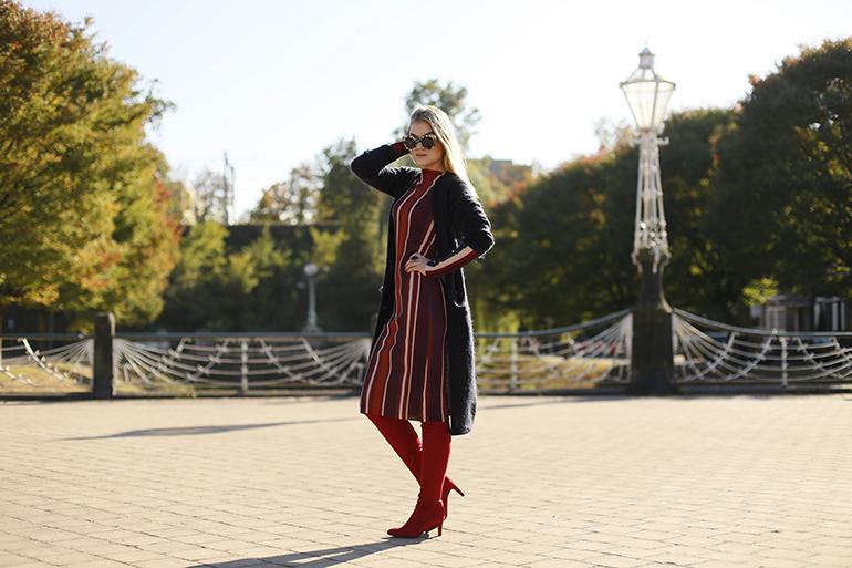 sylvie for vanharen, sylvie overknees, sylvie x vanharen, sylvie overknee boots, sylvie overknee laarzen, gestreepte jurk, zara, & other stories, h&m trend, fashionblogger, arnhem, blond, herfst, overknee boots, overknee trend, shoe tag