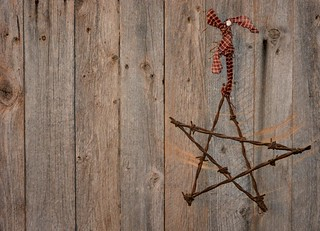 Rustic Barbed Wire Star on Barnboard | by glendaphotolover