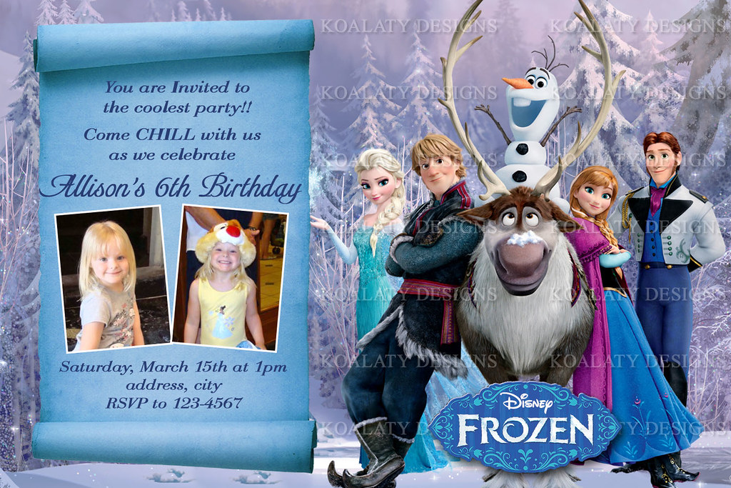 Personalized Frozen Birthday Party Invitations Koalaty Designs