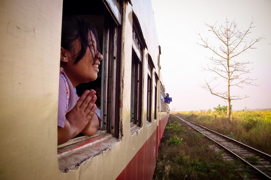 Devotion, train to Mandalay, Myanmar, 2012
