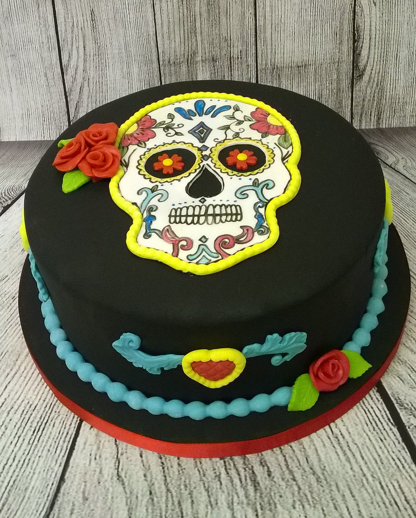 Day Of The Dead Cake Dia De Muertos Cake With Hand Paint Flickr