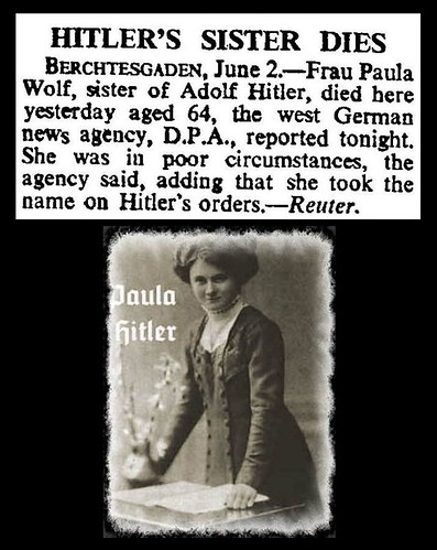1st June 1960 - Death of Paula Wolf (sister of Adolf Hitler) | by Bradford Timeline
