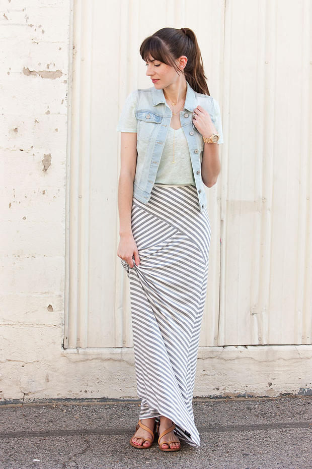 Striped Maxi Skirt, Denim Vest, Gorjana Necklace