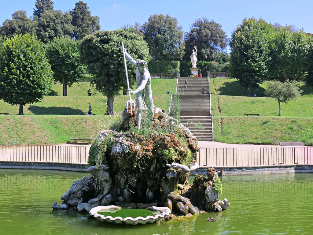 ... Boboli Gardens: Fountain Of Neptune: Stoldo Lorenziu0027s Bronze Of Neptune  Clutching His Three