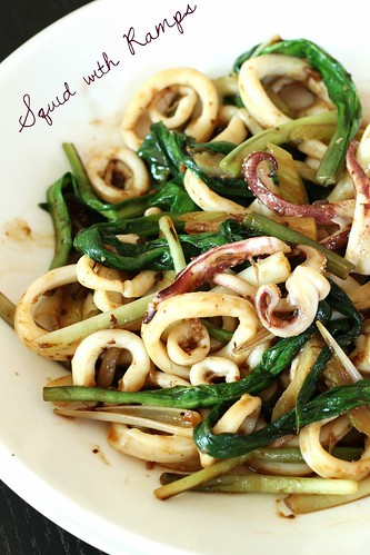 Squid with Ramps in Black Bean Sauce title pic | by FoodMayhem.com