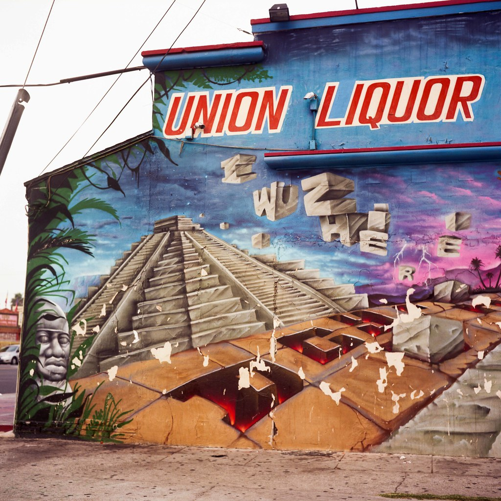 Mesoamerican pyramid liquor store mural | by ADMurr