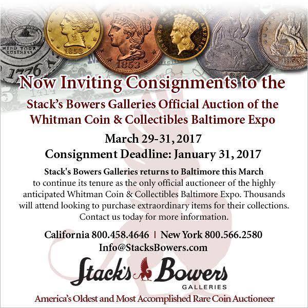 Stacks-Bowers E-Sylum ad 2016-11-27 Consignment