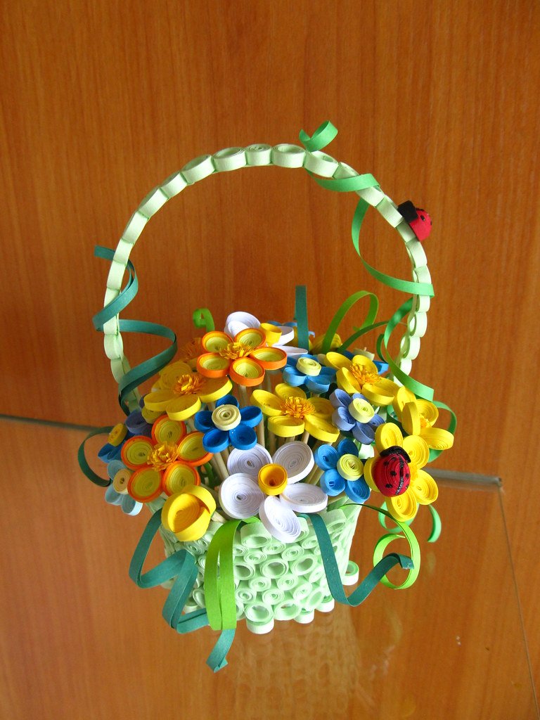 ... 3d Handmade Home Decor, Quilled Home Decor, Quilled Basket With Flowers  And Ladybugs, 3d