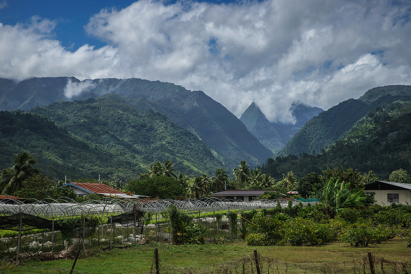 Mountain scenery from the road Tahiti French Polynesia