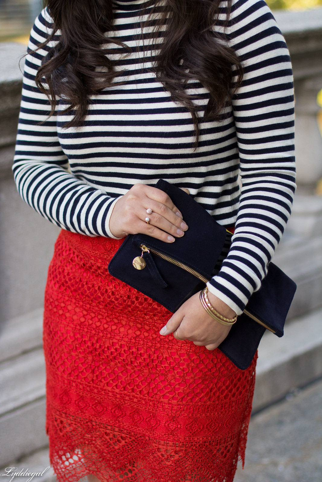red lace skirt, striped shirt, navy clare v clutch, coach pumps-9.jpg
