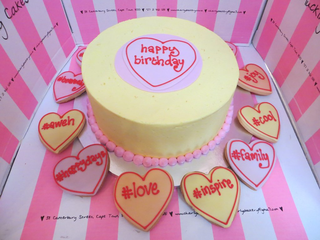 Love Heart Candy Themed Birthday Cake In Pastel Yellow Wit Flickr