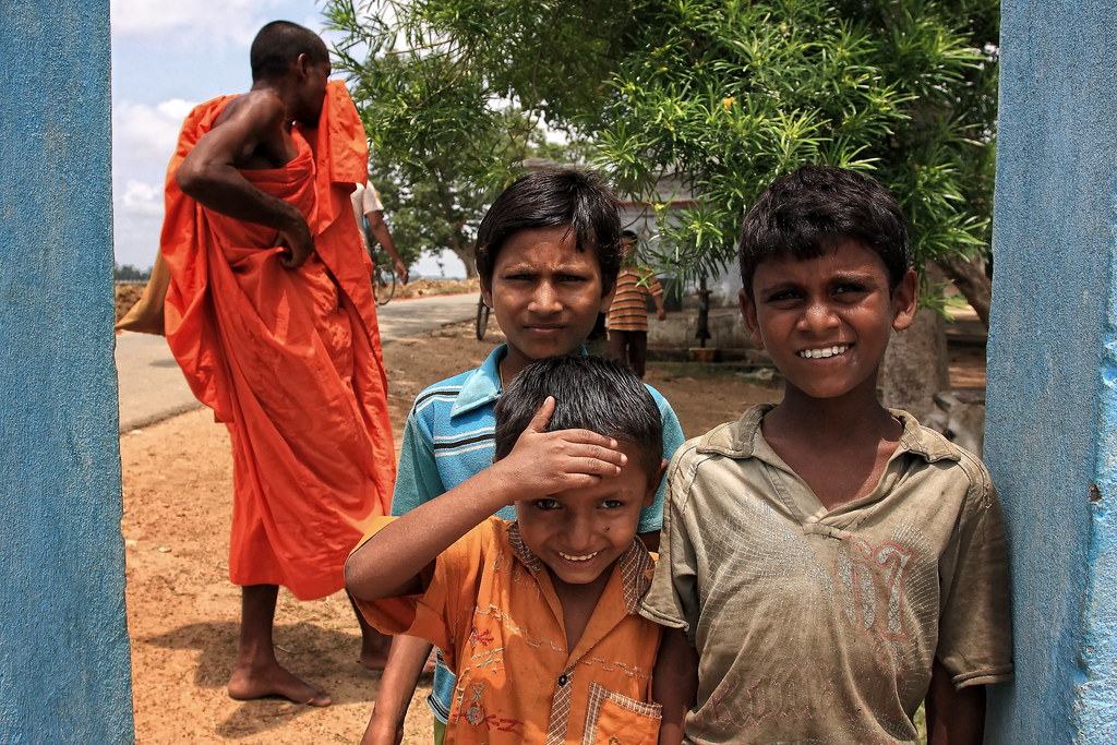Children & A Monk In Bodhgaya