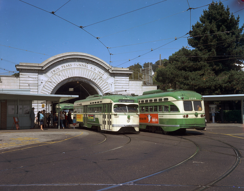 ... 1967 PCC Streetcars 1102, 1145 and 1039 at West Portal Station | August  21, 1967